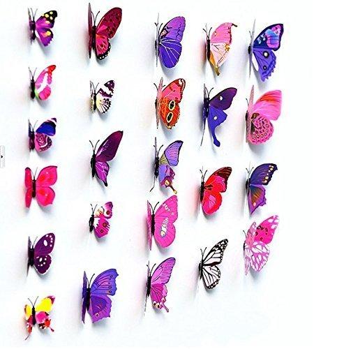 Autek Schmetterlinge Set 12 tlg. zum Kleben Wandtattoo Wanddeko Rot (Klebepunkten+ Magnet)