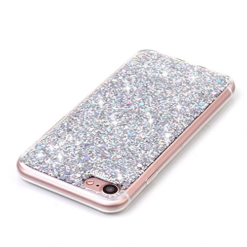 Custodia iPhone 7 Plus, Aohro Ultra Sottile Morbido TPU Bumper Gel e Bling Glitter Strass Interno Protettiva Custodia Brillantini Resistente Back Case Caso per iPhone 7 Plus 5.5pollice-Blu Argento