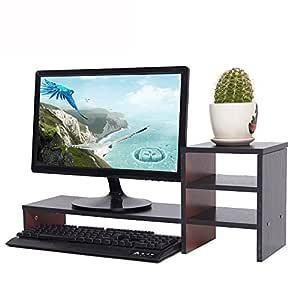 yumu Monitor supporto in legno, tavolo per computer ...