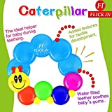 Baby First Soothing Rattle Teether Caterpillar Shape Water Filled Sensory Rattle Ring Toy By Flick In   Infant Teether Soother For Teething Babies   Baby Silicon BPA Free Smooth Teething Toys   Teether For Baby, Infant, Newborn   6 To 12 Months (Multicolo