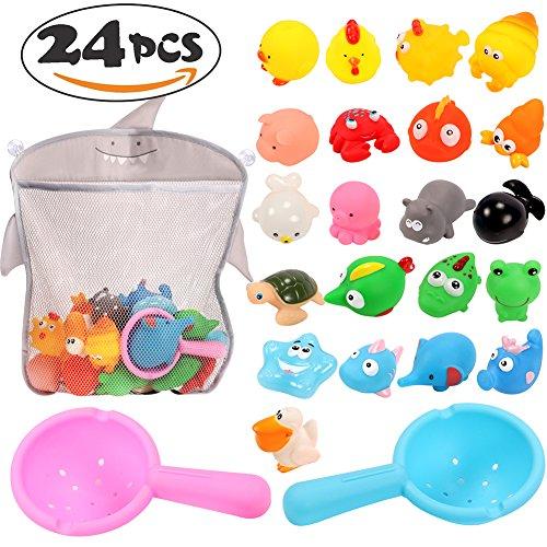 Tacobear Juguetes de Baño Animales flotantes Juguetes acuáticos Baño Squirt Squeaker Toys Baño Accesorio de Piscina para Bebés Niñas 24 Piezas