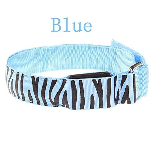 Pet Leso® LED Sports Armband Blinkendes Sicherheits-Licht Für Laufen, Radfahren Oder Nacht Gehen, Zebra Stripes -Blau