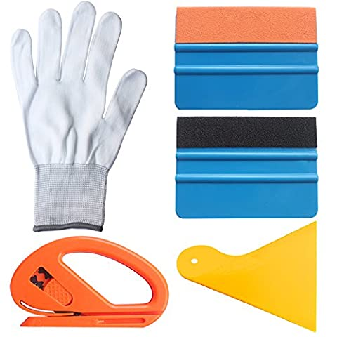 EEFUN 5 in 1 Installation Tool Kit For Car Window Wrapping Tint Vinyl With Snitty Cutter, Yellow Pp Squeegee, Black Fiber Edge Squeegee, Orange Suede Edge Squeegee, Working