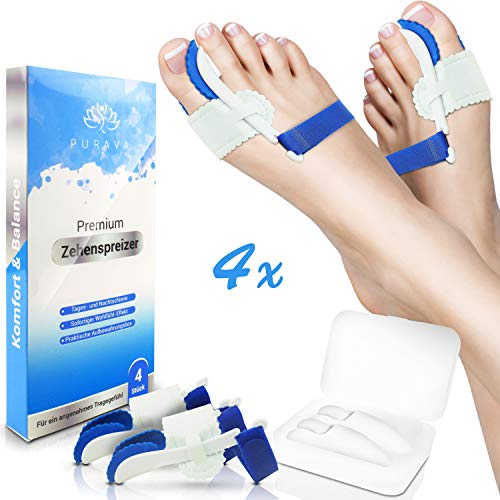 PURAVA® [4x] Hallux Valgus Zehenspreizer - Ideal für Tag & Nacht - Inklusive hygienischer Transportbox - Optimaler Tragekomfort dank innovativem Soft Gel Silikon - BPA frei - Universalgröße