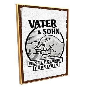 HARIZ Holzschild mit Spruch Vater & Sohn Beste Freunde Fürs Leben Papa Vater Sprüche Plus Geschenkkarte 19 * 28cm