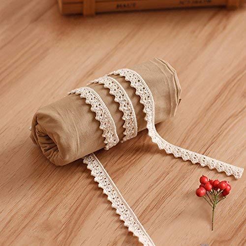 10 Meter Vintage Spitzenband Beige Spitzenborte Häkel-Borte Spitze Nähen Spitzenbordüre Geschenkbox Deko (Beige)