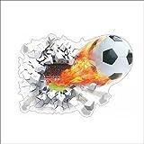 Oulique ® 3D Aufkleber Fussball mit Feuer Wanddurchbruch