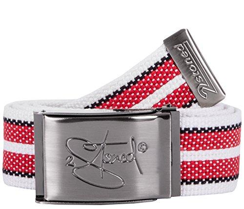 2Stoned Gürtel Canvas Belt Weiß-Rot-Schwarz, matte Schnalle Classic, 4 cm breit, Stoffgürtel für Damen und Herren