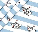 0,5m Jersey Schiffchen Ahoi - weiß/himmelblau Eigendruck