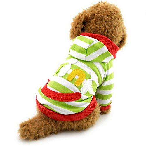 ranphy Kleiner Hund Kleidung für männlich weiblich Mini Smile Patch gestreift Sweatshirt Shirt Fleece Pullover (Weiblich Fancy Dress)