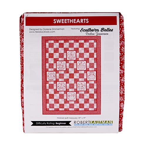Robert Kaufman 0643070 Kaufman Quilt Kit Sweethearts Redwork Stoff, Textil, multi, By The Yard -