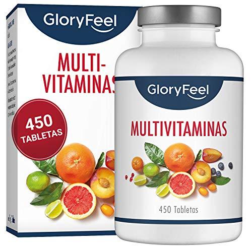 GloryFeel Multivitaminas y Minerales - 450 Comprimidos Multivitamínicos Veganos -...