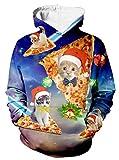 uideazone Uniesx 3D Druck Hooded Herren Langarm Jumper Kapuzenpullover, Farbe: xmas-pizza cat, Gr. M