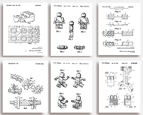 Rosetta London Lego Patent Prints - Set of 6 - Quirky Gift for All Lego Lovers (unframed) (149 x 203mm (6\