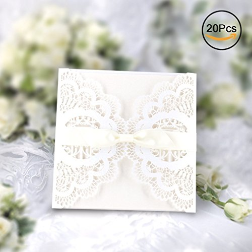 Wedding invitation card amazon gospire elegant invitations cards kits 20pcs laser cut lace wedding party invitations cards with printable paper and envelopes for engagement wedding stopboris Image collections