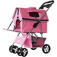 Cochecito para mascotas Carros para perros doblez Extraíble y lavable Dividido Bolsa de coche para mascotas perrera Casa de mascotas Impermeable Portátil , pink