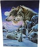 4 Wölfe im Mondschein Schnee Szene