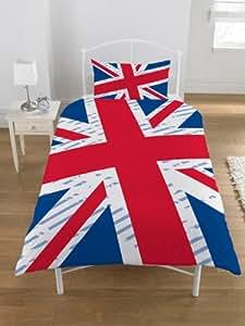 parure housse de couette linge de maison union jack drapeau anglais londres lit 1 personne. Black Bedroom Furniture Sets. Home Design Ideas