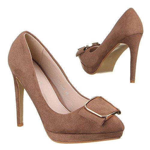 Ital-Design , chaussures compensées femme Marron - Marron