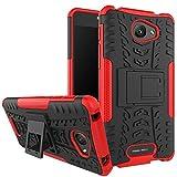 Nadakin Alcatel One Touch Pop 4S Hülle Schutzhülle Hybrid Rugged Phone Case Stoßfest Handys Schutz Cover mit eingebautem Kickstand Shockproof für Alcatel One Touch Pop 4S (Rot)