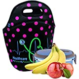 Black/FuchsiaDot : Healthcare Pros Insulated Lunch Tote Bag X-large, X-Thicker Insulation Stylish Luxury Gift Idea By EatRite (Black/FuchsiaDot)