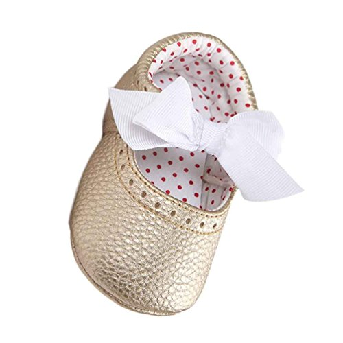 Turnschuhe Babyschuhe Neugeborenen Kleinkind Leder T-Strap Schuhe Sportschuh Jungen Lauflernschuhe Mädchen Krippeschuhe Krabbelschuhe Streifen-beiläufige Wanderschuhe LMMVP (Gold, 13CM (12~18M)) (Herren Gold Anzug Kostüm)