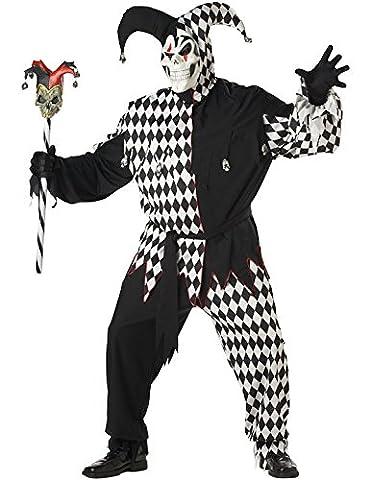 Costume Mauvais bouffon Grand Taille XXXL Noir et Blanc Carnaval Desguisement