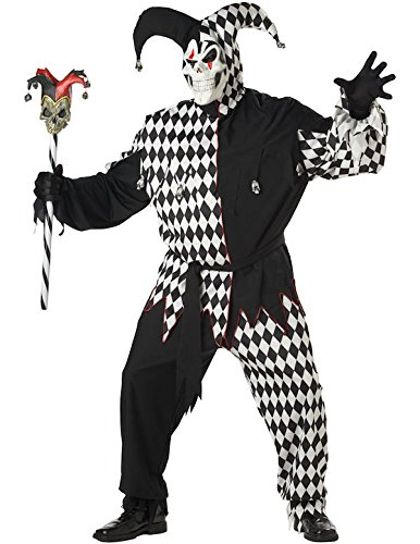 Evil Jester black and white Costume Plus Size Halloween Fancy (Halloween Renaissance Plus Kostüme Size)