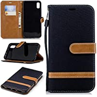 iPhone 9 (6.1) Hülle TXLING Denim PU Leder Flip Wallet Cover in Book Style Stand Case Card Slot Leder Tasche Case Karteneinschub und Magnetverschluß Kratzfestes für iPhone 9 (6.1) -schwarz