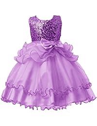 Vestito per Bambina Abito Principessa Ragazze Fiore- Abiti Formale Pageant  Vacanza Nozze Damigella d Onore Piccolo Vestiti Vestito da… 2a1bb8d39b5