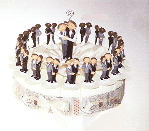 Torta bomboniere sposi lui e lui 18 fette di torta con coppia sposi in resina completo di confetti bianchi crispo al cioccolato