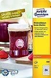 Avery Zweckform 5080 Marmeladenetiketten (A4, 240 Etiketten, rund, ablösbar, Ø 40mm) 10 Blatt, Weiß