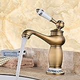 LSRHT Waschtischarmatur Wasserhahn Armatur Badezimmer Waschbecken Mischbatterie Retro Kupfer Toiletten und S und Gold einen erhöhten Tb-04