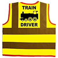 Train Driver Baby/Children/Kids Hi Vis Safety Jacket/Vest Sizes 0 to 8 Years Optional Personalised On Front