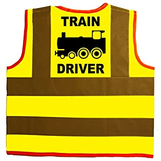 Train Driver Baby/Children/Kids Hi Vis Safety Jacket/Vest Size 4-6 Years Yellow Optional Personalised On Front