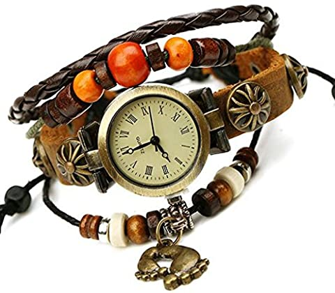 Leather Bracelet, Men's Women's Bracelets Watch Footprint Brown Pumping Rope