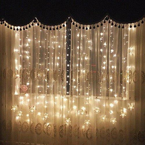 Sterne, Led Lichterkette fenster mit EU-Stecker, warmweiße Weihnachtsdeko für Vorhang, Weihnachten, Halloween, Hochzeit, Clubs, Kinderzimmer, zu Hause, Deko Party Innen/Außen (Halloween Fenster Vorhänge)