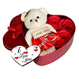 #6: Sky Trends Fabric Heart-shaped Box with Teddy and Roses and Wooden Keychain(Red)
