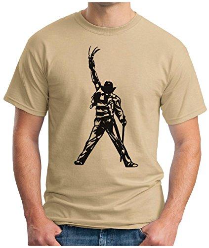 OM3 - FREDDY-JACKSON - T-Shirt KULT HORROR GRUSEL MOVIE FRED ZOMBIE AMERICA POP MUSIC PARODY GEEK, S - 5XL Khaki