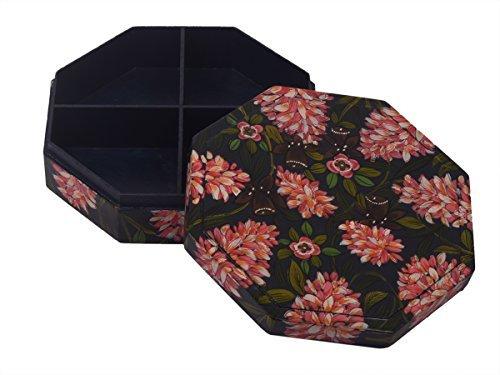 Store Indya, Grande legno decorativo scatola di gioielli di stoccaggio keepsake gingillo multiuso organizzatore con stampa floreale