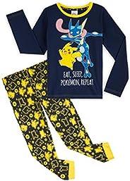 Pokèmon Pijama Niño, Pijamas Niños de Invierno con Camiseta Manga Larga y Pantalon en Algodon, Pijama Pikachu,