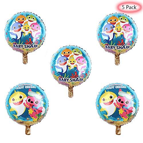 Micher 5 pezzi di palloncini di squalo bambino, 18 pollici grandi palloncini per tema di compleanno squalo / baby shower forniture per feste di compleanno