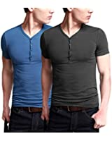 iLoveSIA Mens Henley T-shirts With Short Sleeve Button Front