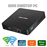 Upgraded Z83-F Mini PC 4K/4GB/64GB,Intel Atom X5-Z8350 con Windows 10 Pro pre-installato, porta HDMI e VGA,1000Mbps LAN,2.4/5.8G WiFi, Auto Power on, con staffa di montaggio portatile