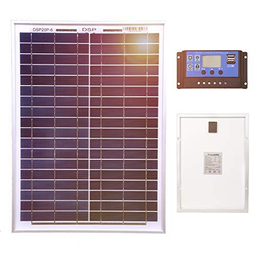 Fiabilidad    Este panel de 20 W está compuesto por células solares monocristalinas, que le dan una de las más eficientes por espacio.    Marco de aluminio resistente a la corrosión para uso exterior extendido, lo que permite que los paneles duren...