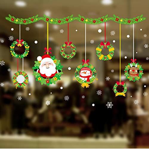NOVELOVE Frohes Neues Jahr Weihnachtsmann Schneemann Kranz Wandtattoos Für Kinderzimmer Fenster Wohnkultur Frohe Weihnachten Wandaufkleber PVC Wandbild Kunst