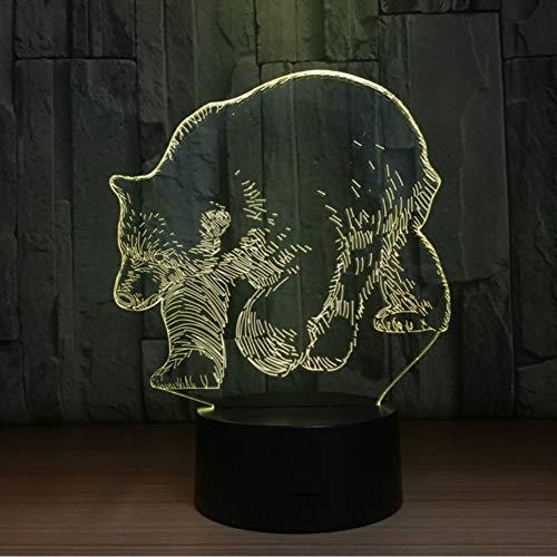 Lkfqjd 7 Farben Eisbär 3D Tier Led Lampe Usb 5 V 3Aa Batterie Nachtlicht 3D Acryl Panel Illusion Tischlampe Lava Lampe Für Kinder