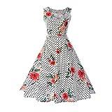 VEMOW Elegante Damen Blumen Bodycon Sleeveless beiläufige Abendgesellschaft Prom Swing Kleid Cocktailkleider Abendkleid Faltenrock A-Linie Rock(Rosa 1, EU-38/CN-S)