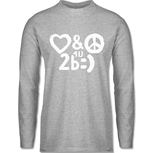 Shirtracer Symbole - Love & Peace For You to Be Happy - Herren Langarmshirt Grau Meliert