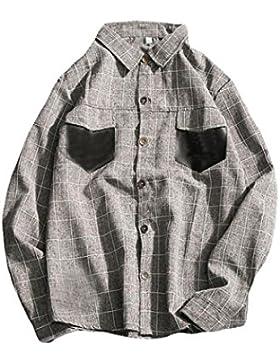 De Manga Larga Camisa De Cuadros De Gran Tamaño Camisa Casual Camisa Suelta De Primavera Y Otoño De Los Hombres